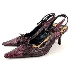 Roberto Cavalli Bordeaux Snake Leather Heels EU 38